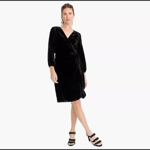 J. CREW NWT Black Velvet Wrap Dress 6 K0145